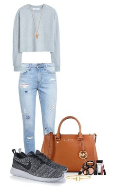 """""""Movie night"""" by mercedes-designs on Polyvore featuring MANGO, Paige Denim, MICHAEL Michael Kors, NIKE, Pamela Love, Laura Geller and Tiffany & Co."""