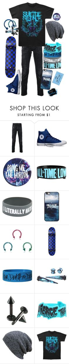 """"""".:i ride my way to hell:."""" by dontfallasleepatthehelmm ❤ liked on Polyvore featuring Dsquared2, CASSETTE, Converse, Hot Topic and KBETHOS"""