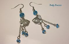Fish earrings. Little fishies swimming in the sea! Charming summer beach wear. Tropical blue waters. Fish lovers! Silver hooks