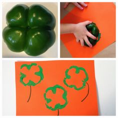 Green Pepper Shamrock Stamping, St. Patrick's Day Craft