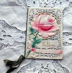 Antique Pink Embossed Rose Valentine Card