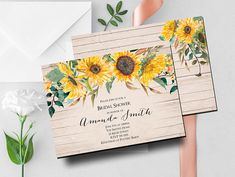 Sunflower Bridal Shower Invitation Rustic Wedding Shower