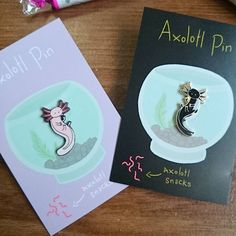 I just got these in the post and no idea who they're from! But I love them so much! #axolotl #pins