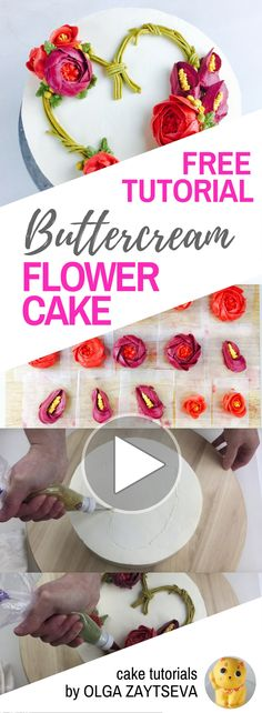 HOT CAKE TRENDS How to make Heart shaped Valentine's Day flower wreath cake - Cake decorating tutorial by Olga Zaytseva. Learn how to pipe calla lilies and roses, and create this heart shaped buttercream flower wreath cake for Valentine's Day celebration. #cakedecoratingtutorials