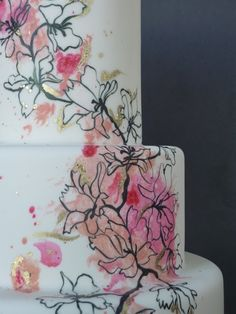 J'Adore Cakes Co. - painted wedding cake with floral, gold leaf
