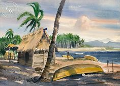 Beach at Puerto Vallarta, an original watercolor painting by Disney artist Ralph Hulett. This painting is available as a fine art giclée print on premium watercolor paper. Watercolor Logo, Watercolor Artists, Watercolor Paper, Watercolor Paintings, Disney Artists, California Art, Puerto Vallarta, Artist At Work, Artwork Prints