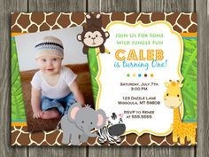 Printable Jungle Birthday Invitation   Photo Invite   Boys First Birthday Party Idea   Zoo   Safari   FREE Thank You Card Included   Printable   Matching Party Package Available! Banner   Cupcake Toppers   Favor Tag   Food and Drink Labels   Signs   Candy Bar Wrapper   www.dazzleexpressions.com