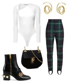"""""""Untitled #13"""" by snackingondior ❤ liked on Polyvore featuring Cushnie Et Ochs, Burberry, Gucci, E L L E R Y and Chloé"""