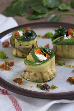 Zucchini Rolls with Goat Cheese and Spinach