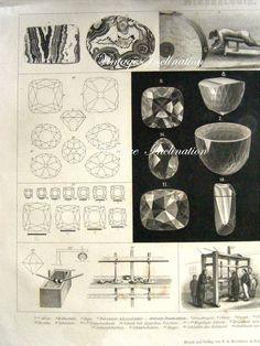 Vintage 1840s Antique Print MINERALOGIE par VintageInclination, $75,00
