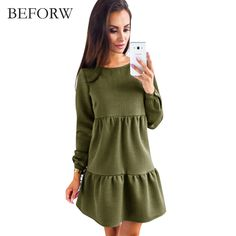 BEFORW New Arrive Women Dress Autumn And Winter Fashion Long Sleeve Dresses Blue Pink ArmyGreen Womens Clothing Sexy Dress  Price: 11.67 USD