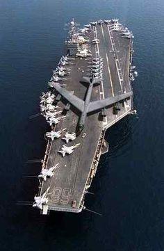 B-52 Bomber on an aircraft carrier