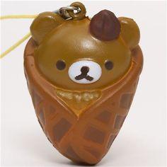 brown Rilakkuma bear in waffle squishy cellphone charm
