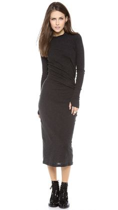 Thanks Enza Costa for adding a touch of cashmere and thumb holes to the perfect mid length body conscious dress.   Enza Costa Ruched Long Sleeve Dress