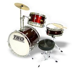 TKO 3piece Junior ChildKids Drum Set  Red -- Be sure to check out this awesome product.Note:It is affiliate link to Amazon.