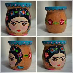 Mate Fridita * Tutti i fiocchi deco * Feria Central Mexican Crafts, Mexican Art, Flower Pot Crafts, Flower Pots, Frida And Diego, Diy And Crafts, Arts And Crafts, Ideias Diy, Painted Pots