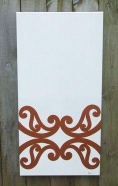 Copper Koru on White stretched canvas. Maori Patterns, Polynesian Art, Maori Designs, New Zealand Art, Nz Art, Maori Art, Kiwiana, Table Designs, Stretched Canvas