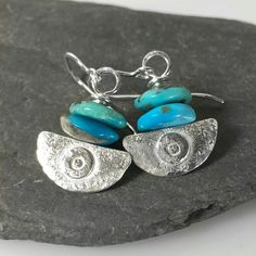 silver and blue turquoise earrings Ulu tribal blade £42.00