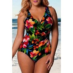 $14.43 Alluring V-Neck Floral Print Plus Size One Size Swimwear For Women