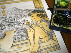 Atelier Sentô Indie Games, Princess Zelda, Watercolor, Cave, Coloring, Coral, Fictional Characters, Atelier, Pen And Wash