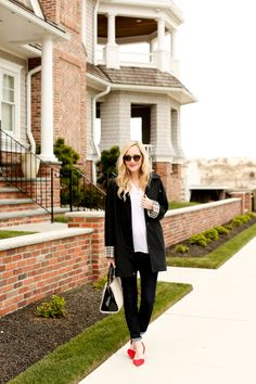 Anne Klein Bag / J.Crew Jeans / Lilly Pulitzer Top / Sole Society Pumps  / Black Burberry Hooded Raincoat