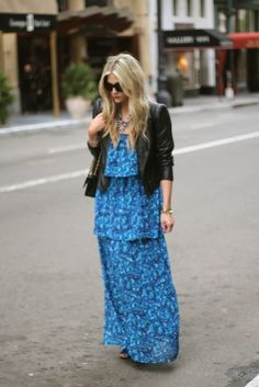 blue dress + leather