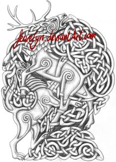 Nidhoeggr celtic knots (shaded) by Feivelyn on DeviantArt Stag Tattoo, Norse Tattoo, Celtic Tattoos, Wolf Tattoos, Body Art Tattoos, Pagan Tattoo, Celtic Symbols, Celtic Art, Celtic Knots