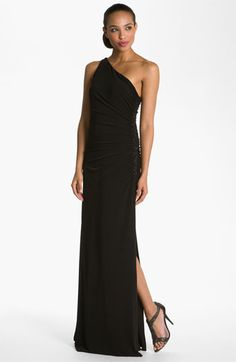 Laundry by Shelli Segal Beaded Panel One Shoulder Jersey Gown | Nordstrom