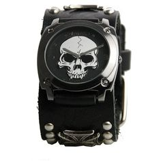 Nemesis Men's Black Heavy Duty Skull Watch ($36) ❤ liked on Polyvore featuring men's fashion, men's jewelry, men's watches, black, mens skull watches, mens watches jewelry, mens leather strap watches and mens black face watches