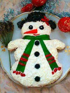 "Salad ""Snowman"" recipes + c + photos simple and delicious recipes for Christmas Salad preparing layers. Christmas Humor, Christmas Themes, Christmas Ornaments, Holiday Decor, Xmas, Cheetah Decorations, Christmas Salad Recipes, Christmas Table Settings, Flower Tea"