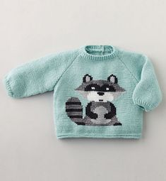 free pattern for the cute knitted baby Pullover sweater is British, and includes layout diagrams and charts for the adorable raccoon design Baby Boy Knitting Patterns, Baby Sweater Patterns, Knit Baby Sweaters, Boys Sweaters, Knitting For Kids, Baby Patterns, Knit Patterns, Free Knitting, Baby Pullover Muster