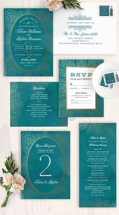 Make your wedding sparkle with this elegant foil-pressed wedding invitation by Minted artist Chris Griffith. Available now in Black, White, Blue, Green, and Pink on Minted.com.