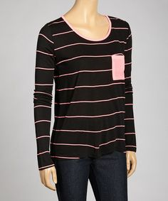 Look what I found on #zulily! Black & Pink Stripe Scoop Neck Top by Zenana #zulilyfinds