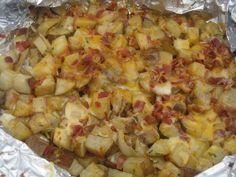 A perfect side dish for your summer grilling. Ingredients: 2 russet potatoes, washed and cut into small chunks 1 medium cooking onion, diced Small amount of canola oi… Side Dishes For Bbq, Side Dish Recipes, Bbq Potatoes, Cheesy Potatoes, Parmesan Potatoes, Russet Potatoes, Grilling Recipes, Cooking Recipes, Cooking Onions