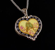 Lovebirds. Vintage American china. Broken china jewelry heart pendant necklace. Made from a broken china plate by Dishfunctional Designs