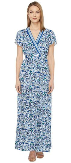 Hale Bob All Mixed Up Rayon Woven Maxi Wrap Dress (Blue) Women's Dress - Hale Bob, All Mixed Up Rayon Woven Maxi Wrap Dress, 72MX6316-400, Apparel Top Dress, Dress, Top, Apparel, Clothes Clothing, Gift, - Fashion Ideas To Inspire