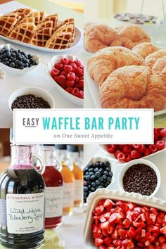 Wedding Food Waffle Bar Party - Consider a waffle bar brunch for your next open house type party. The hands on buffet style party is fun for everyone. Breakfast And Brunch, Breakfast Bar Food, Brunch Bar, Birthday Breakfast, Brunch Buffet, Birthday Brunch, Brunch Food, Birthday Bar, Breakfast Ideas