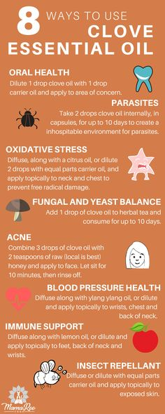 Clove essential oil has a long history of therapeutic benefits for oral health, as well as, acne, parasites, immune support, insect repellant and more! Repin to share with your loved ones and click the image for 8 natural benefits and uses for clove essential oil! #essentialoil