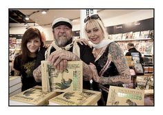 Oh my. Look at that! Dutch Tattoo King & his wife Louise in an American Bookstore.