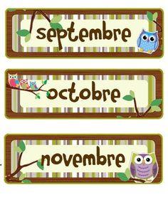 French monthly calendar headings for an owl themes classroom. Kindergarten Classroom Organization, Owl Theme Classroom, School Organization, Classroom Management, Classroom Teacher, Behavior Management, Classroom Ideas, Owl Activities, Owl Parties