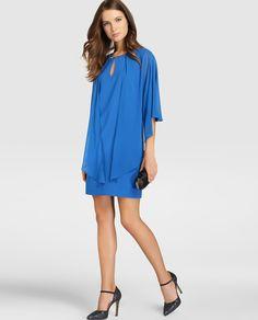 Vestido azul de mujer Fiesta El Corte Inglés con capa superpuesta