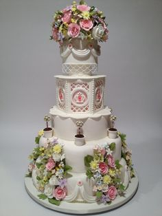 """A Royal Garden Gala"" – Great American Cake Show and Wedding Cake Competition place: Semi-Pro – Masters Division. Elegant Wedding Cakes, Elegant Cakes, Wedding Cake Designs, Gorgeous Cakes, Pretty Cakes, Amazing Cakes, Cake Competition, Cake Show, Couture Cakes"