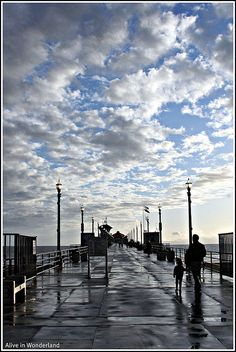 Huntington Beach pier ... By the beauty and fluffiness of those clouds, grandma was for sure there that day. You will never leave my heart and I will forever miss you <3
