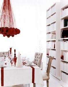 "hanging red bulb ""chandelier""...i love this! maybe next year!!!! @Sami Cronin Cronin Cavallaro"