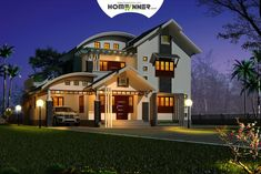 Kerala home design night view of a 3 Bhk house plan Buy now this home plan for ju. House Floor Design, House Outside Design, Home Design Floor Plans, Online Home Design, New Home Designs, Cool House Designs, Indian Home Design, Kerala House Design, Low Budget House