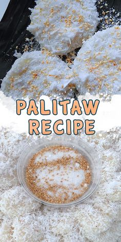 Palitaw Recipe (Homemade) - Recipe ni Juan - Palitaw Recipe (Homemade) Originally, Palitaw is made from washed Ground Sticky Rice or Kakaning Malagkit as they call it in Tagalog (Almost the same as the Sumang Malagkit). Easy Cupcake Recipes, Easy Smoothie Recipes, Snack Recipes, Dessert Recipes, Easy Bibingka Recipe, Palitaw Recipe, Sweet Rice Cake Recipe, Best Vanilla Cake Recipe, Pinoy Dessert
