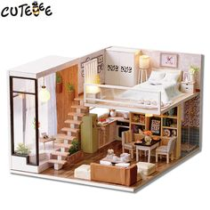 Cheap diy dollhouse, Buy Quality doll house miniatures directly from China house miniature Suppliers: CUTEBEE Doll House Miniature DIY Dollhouse With Furnitures Wooden House Waiting Time Toys For Children Birthday Gift  L020