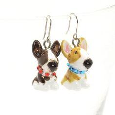 http://stores.ebay.com/madamepOmm-BlueWitch  Bull Terrier Earrings Dog Lover Gift Ceramic Handmade 00010.