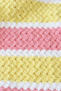 Try this easy and quick striped afghan free crochet pattern. This fast baby blanket will only take few hours and is great for a last minute gift. The textured stitch pattern is simple and perfect for beginners. Crochet Stitches For Beginners, Beginner Crochet Projects, Crochet Stitches Patterns, Crochet Baby Blanket Free Pattern, Free Crochet, Baby Afghan Patterns, Kids Crochet, Baby Afghans, Hat Crochet