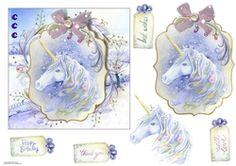 - A beautiful fairy unicorn is floating through a winter scene. Decoupage the unicorn. 3d Pattern, Patterns, Craft Sites, Beautiful Fairies, Winter Scenes, Decoupage, Unicorn, Card Making, Card Designs